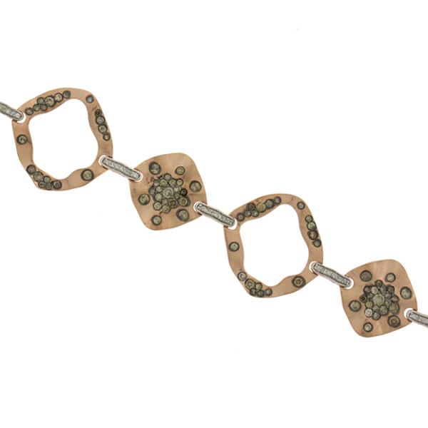 3.15ct 14k Rose Gold White & Champagne Diamond Bracelet