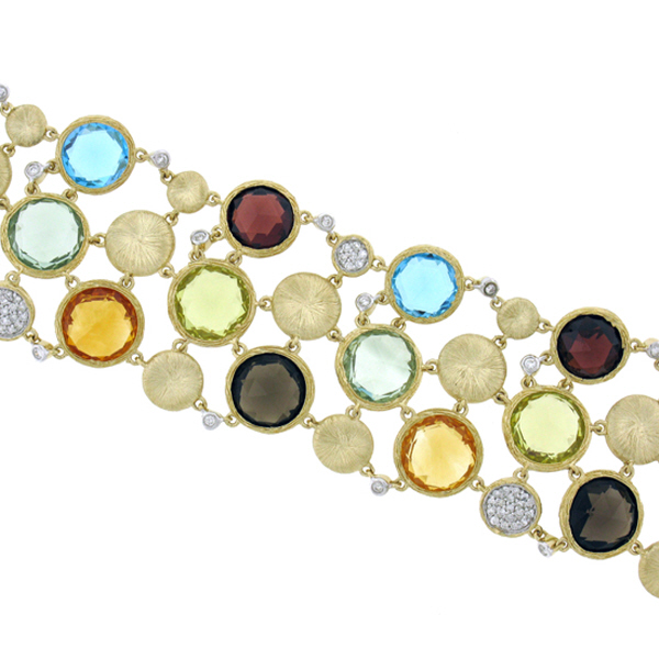 68.24ct 14k Yellow Gold Diamond & Multicolor Stone Bracelet