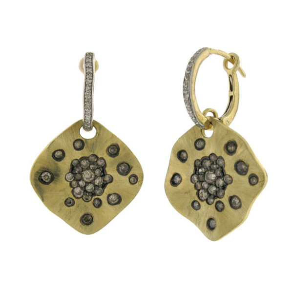 1.10ct 14k Yellow Gold White & Champagne Diamond Earrings