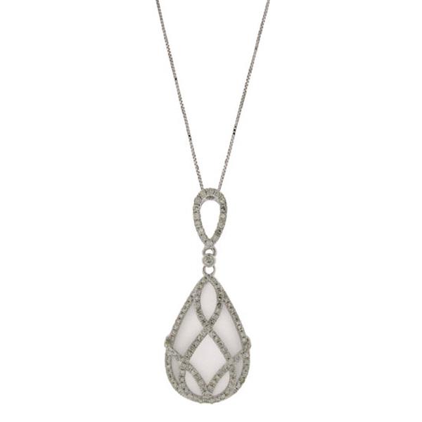 0.54ct Diamond & 7.25ct White Topaz 14k White Gold Pendant Necklace