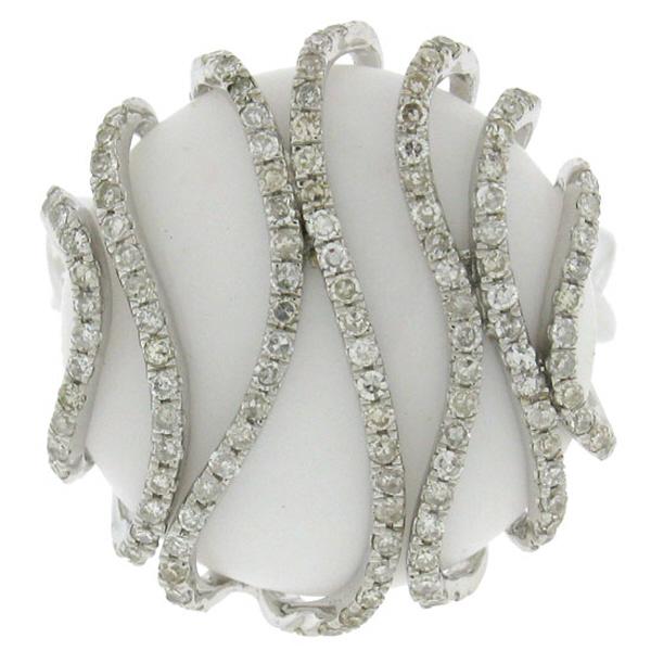0.50ct Diamond & 10.58ct White Onyx 14k White Gold Ring