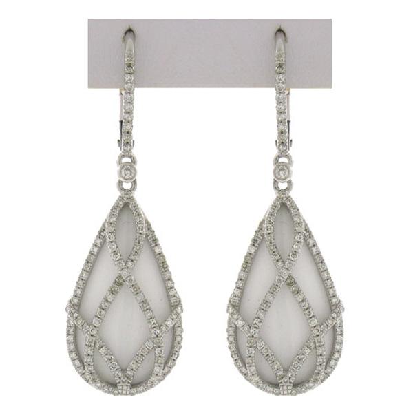 0.74ct Diamond & 12.70ct White Onyx 14k White Gold Earrings