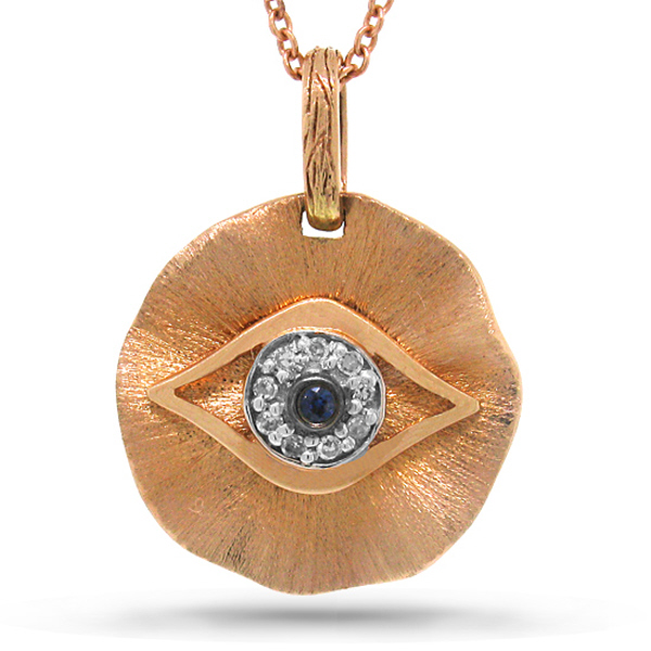 14k Rose Gold Diamond & Blue Sapphire Eye Pendant Necklace