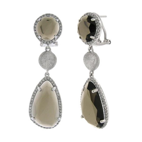 0.57ct Diamond & 13.71ct Smokey Topaz 14k White Gold Earrings