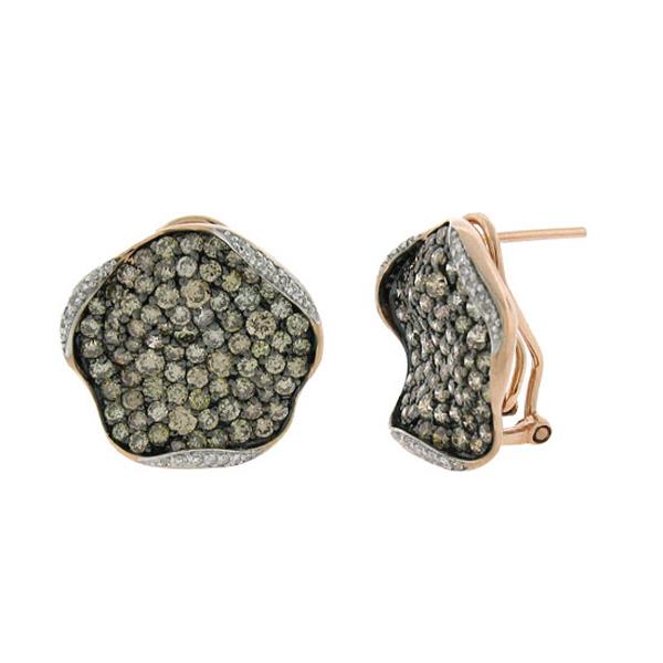 3.30ct 14k Rose Gold White & Champagne Diamond Earrings