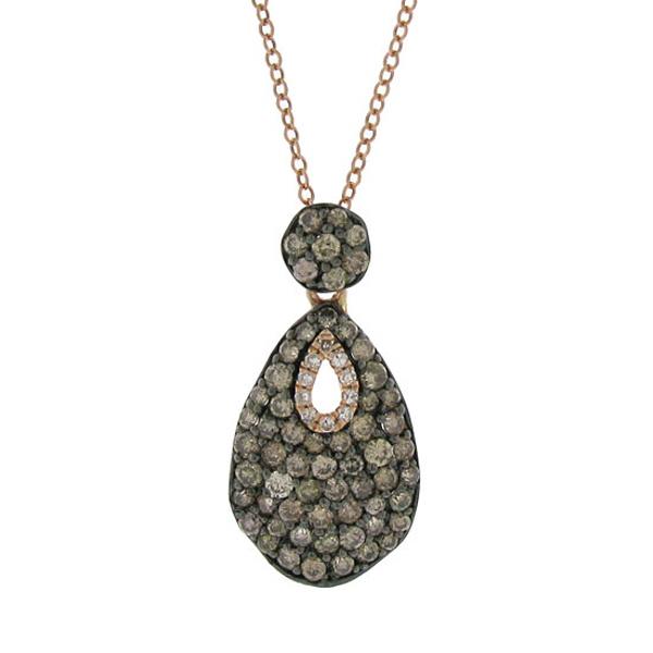0.89ct 14k Rose Gold White & Champagne Diamond Pendant Necklace