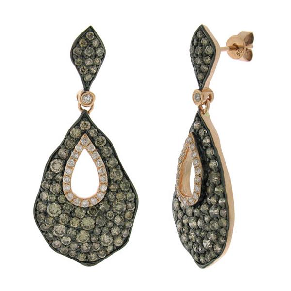 3.26ct 14k Rose Gold White & Champagne Diamond Earrings