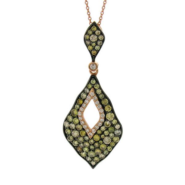 2.13ct 14k Rose Gold White & Multi-color Diamond Pendant Necklace