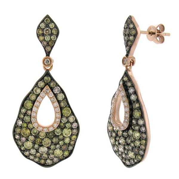3.26ct 14k Rose Gold White & Multi-color Diamond Earrings