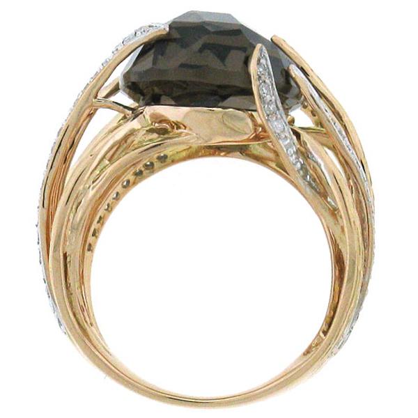 0.50ct Diamond & 12.79ct Smokey Topaz 14k Two-tone Rose Gold Ring