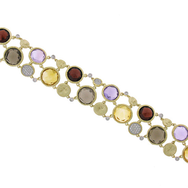 0.45ct Diamond & 42.64ct Multicolor Stone 14k Yellow Gold Bracelet