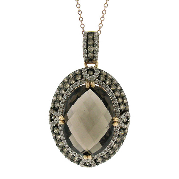 1.70ct White & Champagne Diamond & 11.85ct Smokey Topaz 14k Rose Gold Pendant Necklace