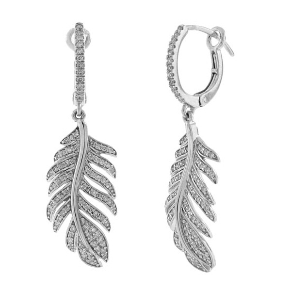 0.55ct 14k White Gold Diamond Feather Earrings