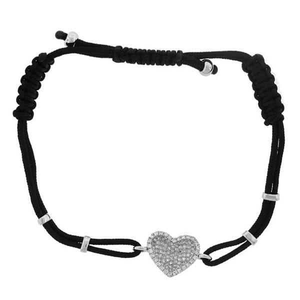0.40ct 14k White Gold Diamond Heart Bracelet