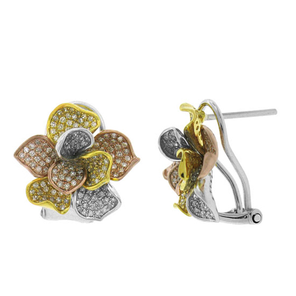 1.00ct 14k Three-tone Gold Diamond Flower Earrings