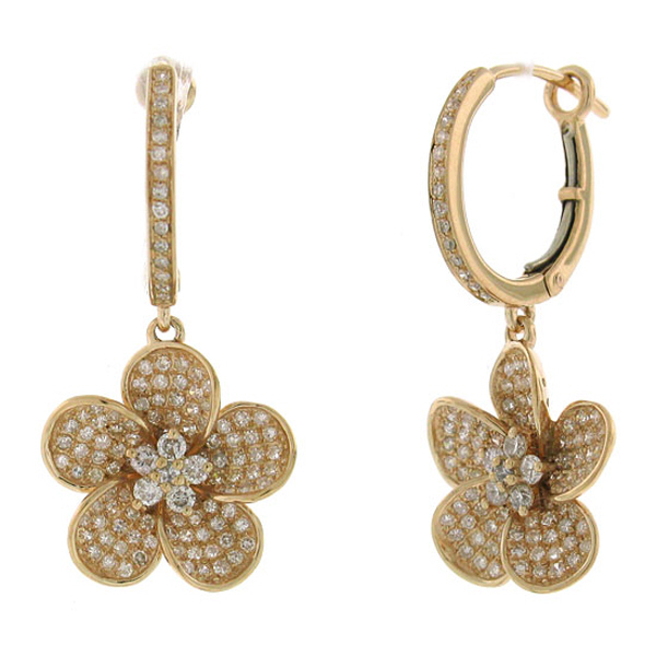 0.85ct 14k Rose Gold Diamond Flower Earrings