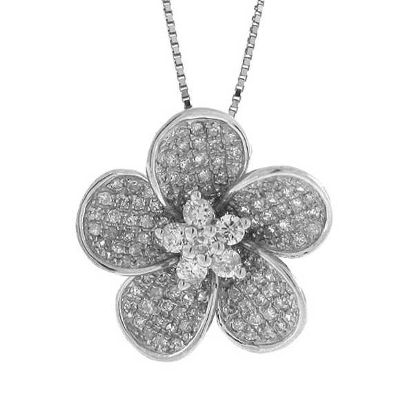 0.55ct 14k White Gold Diamond Flower Pendant Necklace