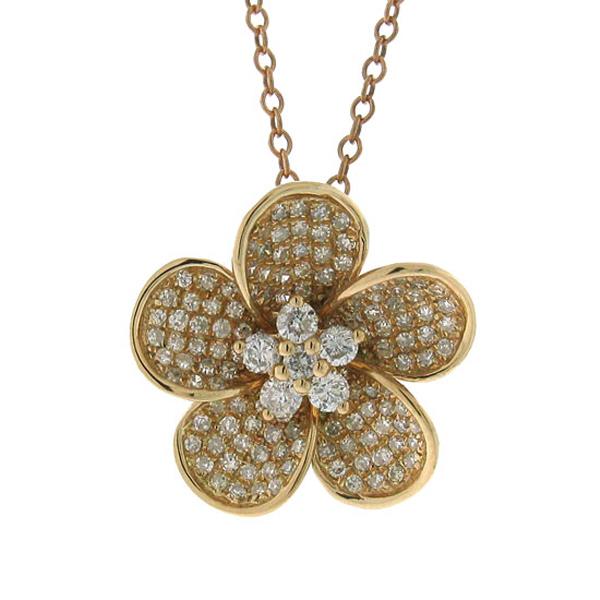0.55ct 14k Rose Gold Diamond Flower Pendant Necklace