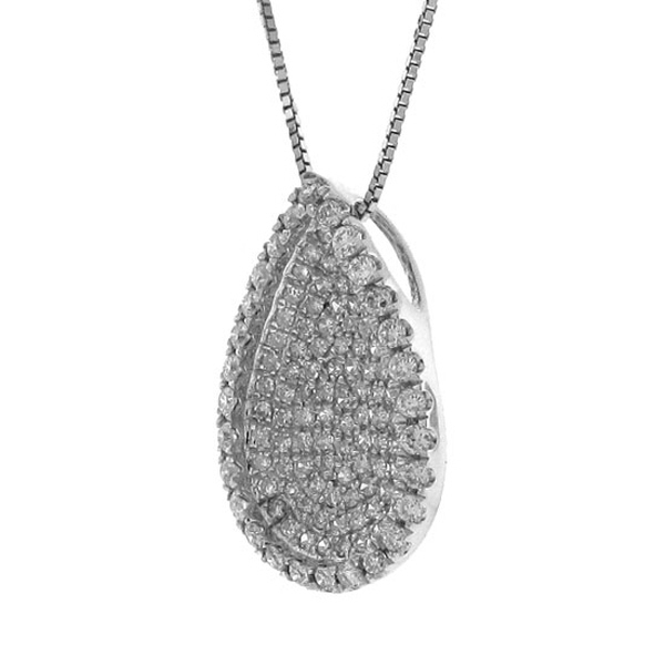 0.55ct 14k White Gold Diamond Pave Pendant Necklace