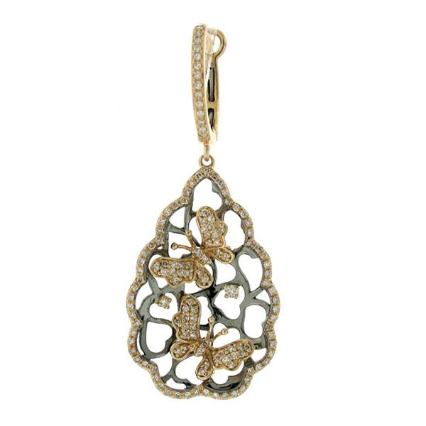 1.00ct 14k Two-tone B/r Diamond Butterfly Earrings