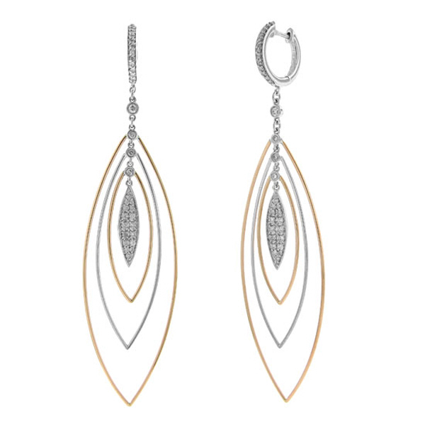 0.65ct 14k Two-tone Rose Gold Diamond Earrings
