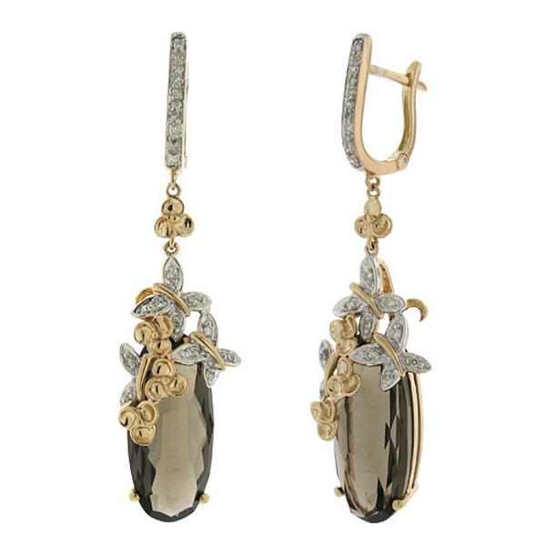 0.25ct Diamond & 14.24ct Smokey Topaz 14k Two-tone Rose Gold Earrings
