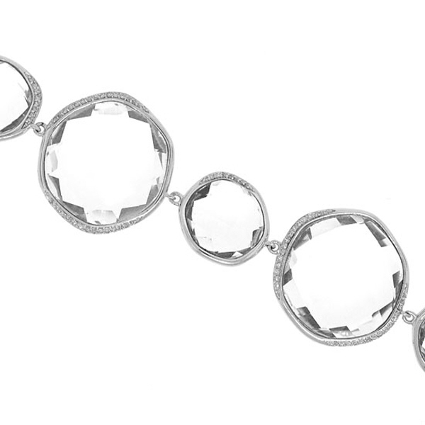 0.53ct Diamond & 107.75ct White Topaz 14k White Gold Bracelet