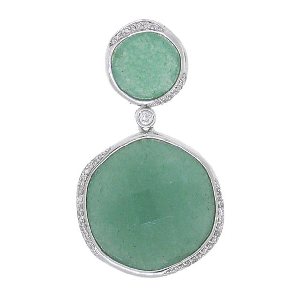 0.18ct Diamond & 22.94ct Aventurine 14k White Gold Pendant Necklace