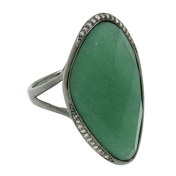 0.10ct Diamond & 19.30ct Aventurine 14k Black Rhodium Ring