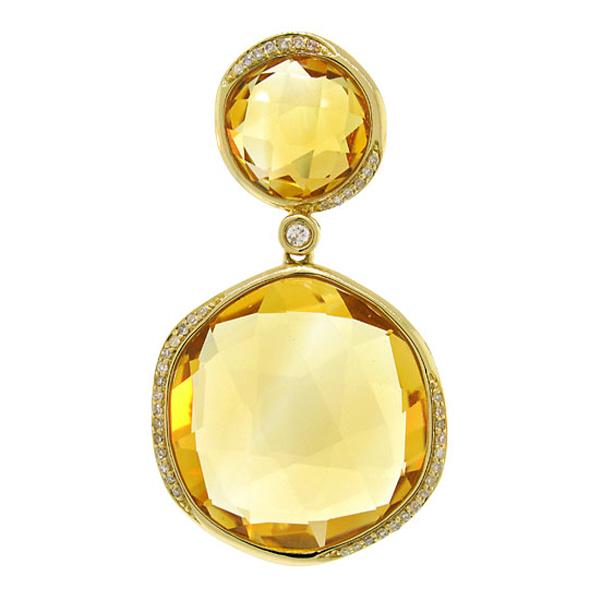 0.18ct Diamond & 27.62ct Citrine 14k Yellow Gold Pendant Necklace