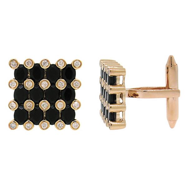 0.36ct Diamond & 3.30ct Black Agate 14k Rose Gold Cuff Link