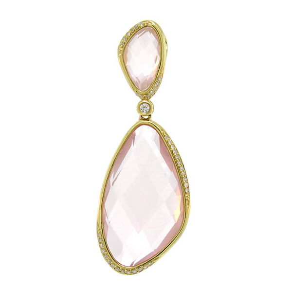 0.18ct Diamond & 24.31ct Rose Quartz 14k Yellow Gold Pendant Necklace