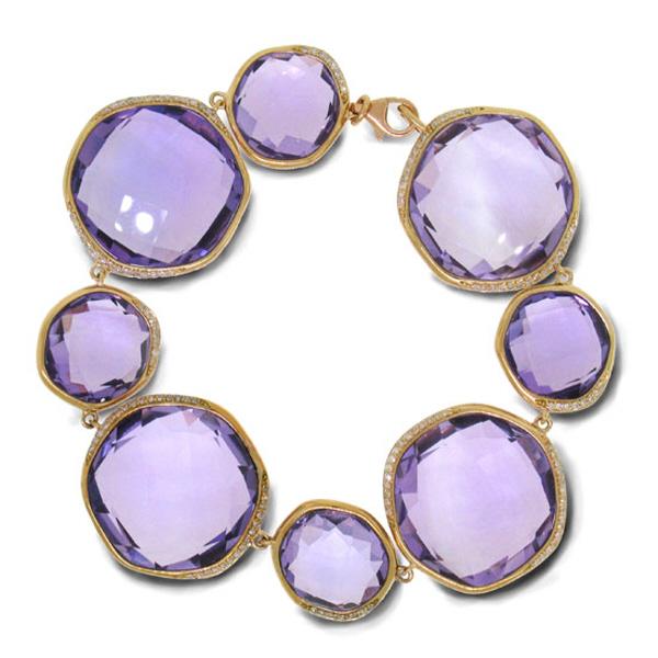 0.53ct Diamond & 122.57ct Amethyst 14k Rose Gold Bracelet