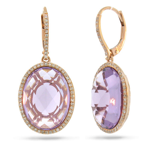 0.38ct Diamond & 15.57ct Amethyst 14k Rose Gold Earrings