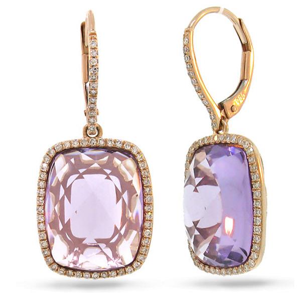0.37ct Diamond & 12.78ct Amethyst 14k Rose Gold Earrings