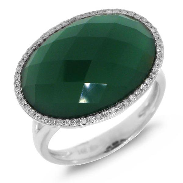 0.17ct Diamond & 10.19ct Green Agate 14k White Gold Ring