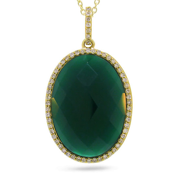 0.19ct Diamond & 10.01ct Green Agate 14k Yellow Gold Pendant Necklace
