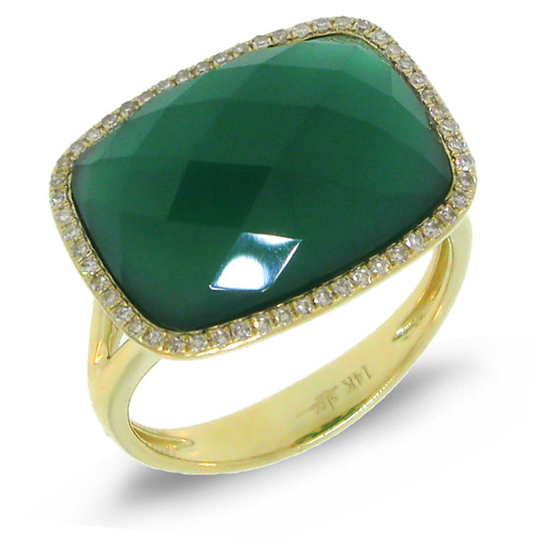 0.17ct Diamond & 8.27ct Green Agate 14k Yellow Gold Ring