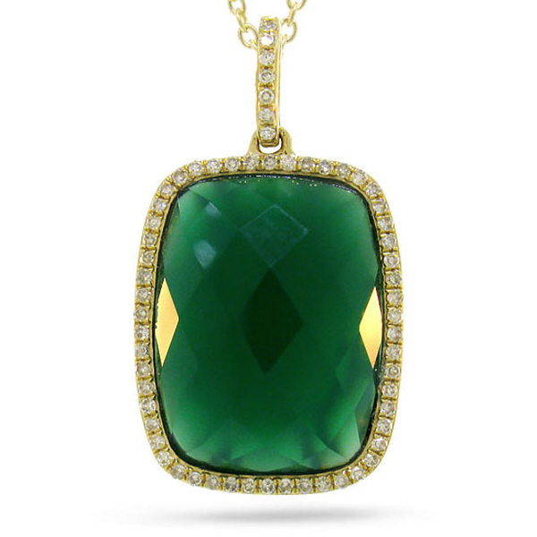 0.19ct Diamond & 8.27ct Green Agate 14k Yellow Gold Pendant Necklace