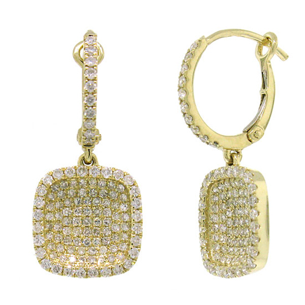 1.00ct 14k Yellow Gold Diamond Pave Earrings
