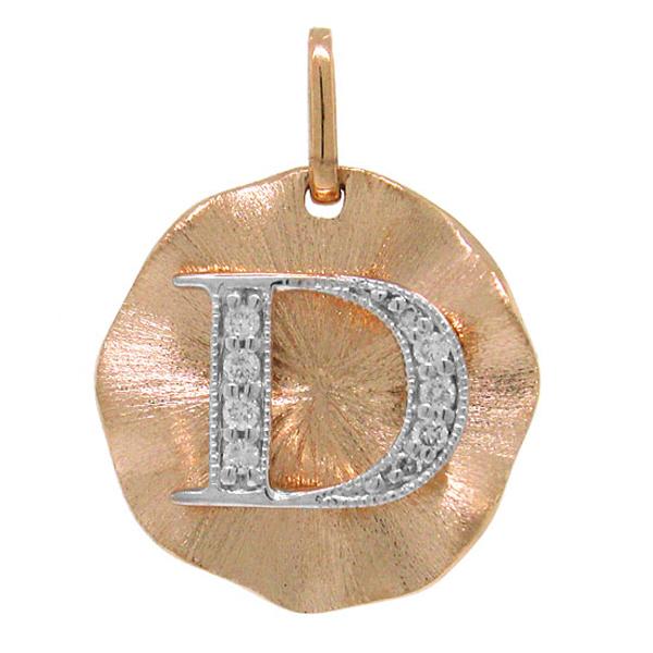 0.06ct 14k Rose Gold Diamond ''d'' Initial Pendant Necklace