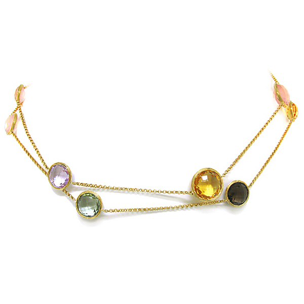 70.64ct 14k Yellow Gold Multi-color Stone Necklace