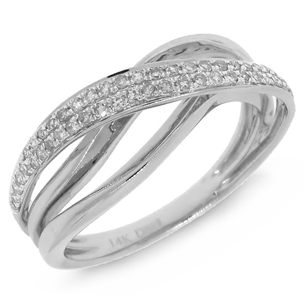 0.22ct 14k White Gold Diamond Bridge Ring