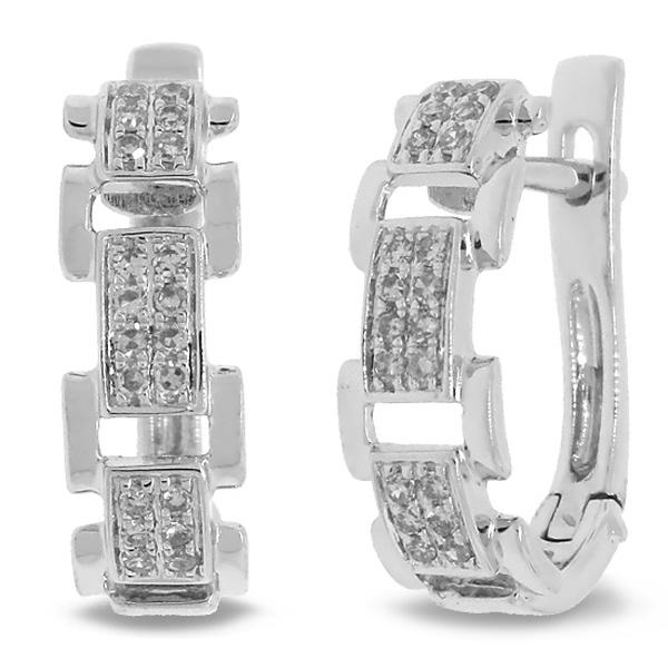 0.19ct 14k White Gold Diamond Link Earrings