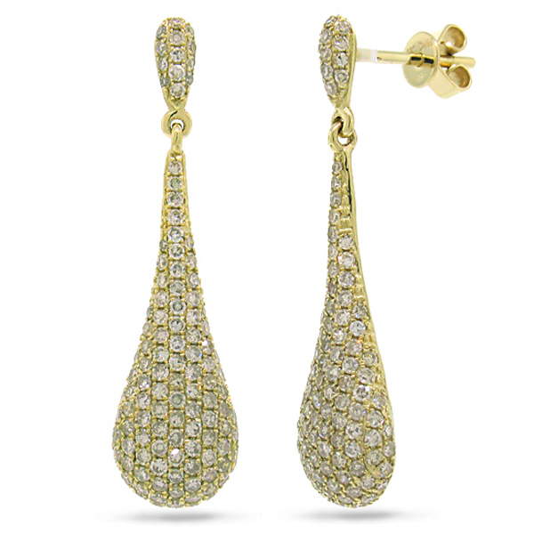 1.51ct 14k Yellow Gold Diamond Pave Earrings