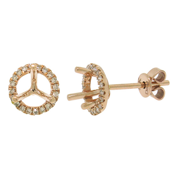 0.16ct 14k Rose Gold Diamond Semi-mount Earrings