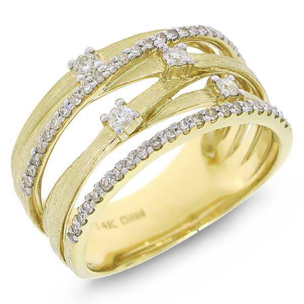 0.40ct 14k Yellow Gold Diamond Bridge Ring