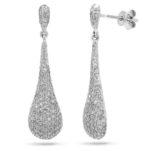 1.51ct 14k White Gold Diamond Pave Earrings