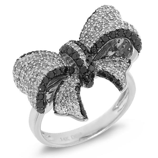 1.55ct 14k White Gold Black & White Diamond Ribbon Bow Ring
