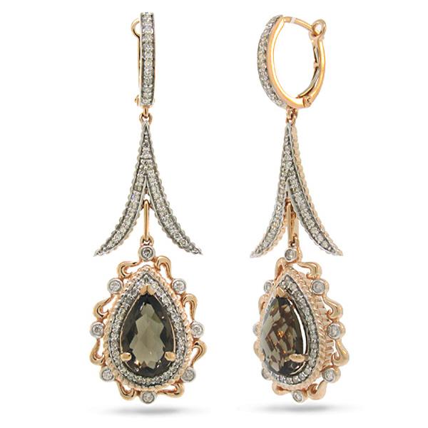 0.87ct Diamond & 3.88ct Smokey Topaz 14k Two-tone Rose Gold Earrings